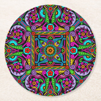 Bohemian Stained Glass Style Round Paper Coaster