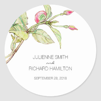 Bohemian Style Floral Wedding Favor Sticker