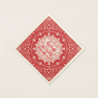 Bohemian Style Red Paisley Wedding Custom Disposable Napkins