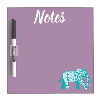 Bohemian Style Teal Tribal Elephant Notes Dry Erase Board