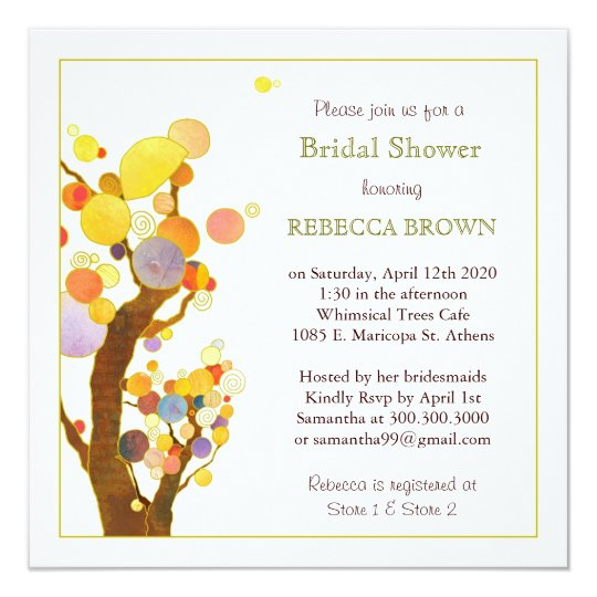 Bohemian Style Trees Modern Bridal Shower Card