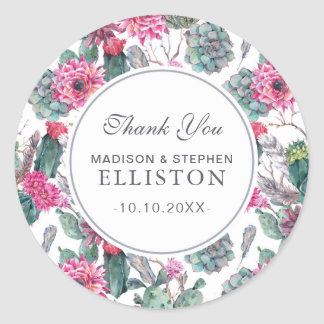 Bohemian Succulent & Floral | Thank You Classic Round Sticker