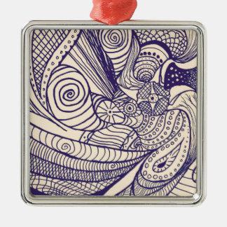 Bohemian Swirl Silver-Colored Square Decoration