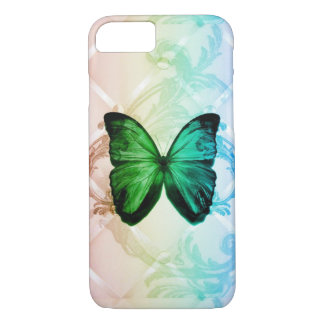Bohemian swirls rainbow colors green butterfly iPhone 8/7 case