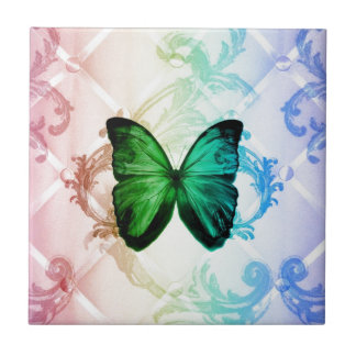 Bohemian swirls rainbow colors green butterfly small square tile