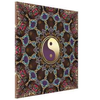 Bohemian Tapestry Yin Yang Wrapped Canvas Canvas Print
