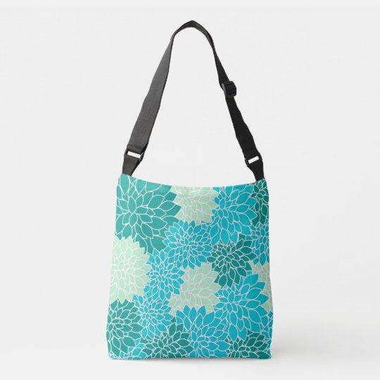 Bohemian Teal Aqua Blue Green Floral Bag