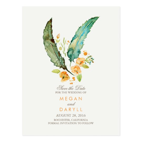 Bohemian Teal Feathers Rustic Save the Date Postcard
