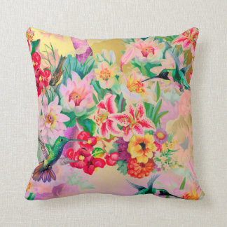 Bohemian Thunder-Bird Tropical Mint Pink  Flowers Cushion