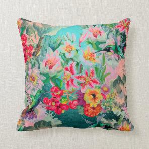 Bohemian Thunder-Bird Tropical Teal Green Flowers Cushion
