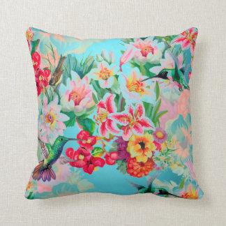 Bohemian Thunder-Bird Tropical Turquese Flowers Throw Pillow