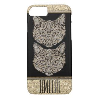 Bohemian tribal Metallic Cat Electronics case