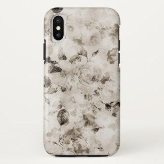 Bohemian vintage elegant white gray roses floral iPhone x case