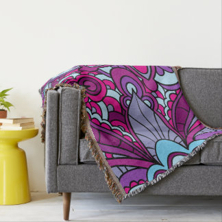 Bohemian, Vivid Blue, Purple, Throw Blanket