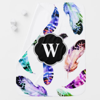 Bohemian Watercolor Feathers Initial Letter Receiving Blankets