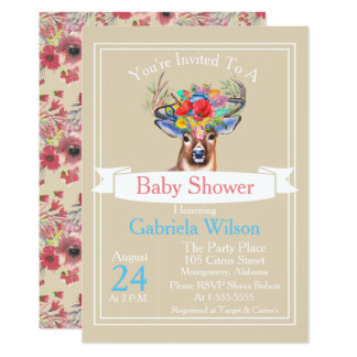 Bohemian Watercolor Floral Deer Girl Baby Shower Card