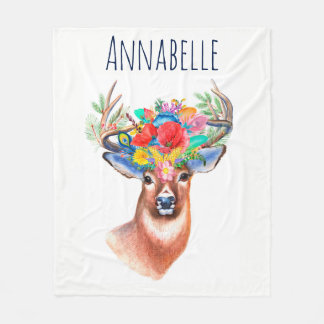 Bohemian Watercolor Floral Deer & Name Fleece Blanket