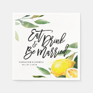 Bohemian Watercolor Lemon Wedding Napkin Disposable Serviettes
