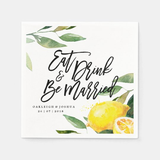 Bohemian Watercolor Lemon Wedding Napkin Disposable Serviettes