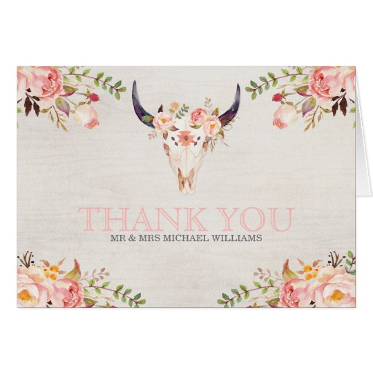 Bohemian Watercolor Skull Wedding Thank You Cards