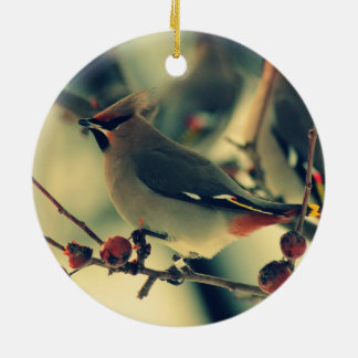 Bohemian Waxwing Christmas Ornament