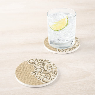Bohemian Western country rustic burlap and lace Coaster