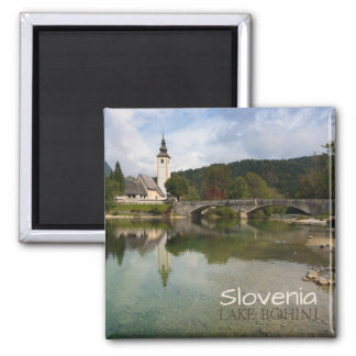 Bohinj lake with church in Slovenia text magnet