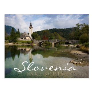 Bohinj lake with church, Slovenia double text card