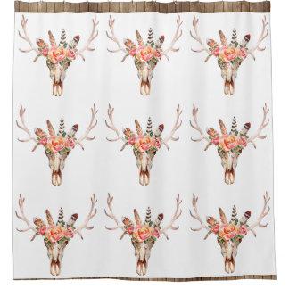 BoHo Animal Skull Watercolor Roses Bah Shower Shower Curtain