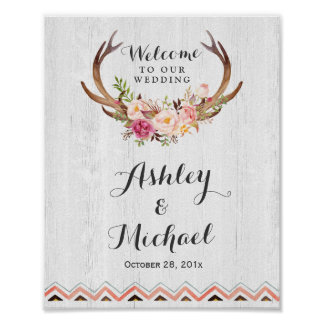 Boho Antler Floral Rustic White Wood Wedding Sign Poster