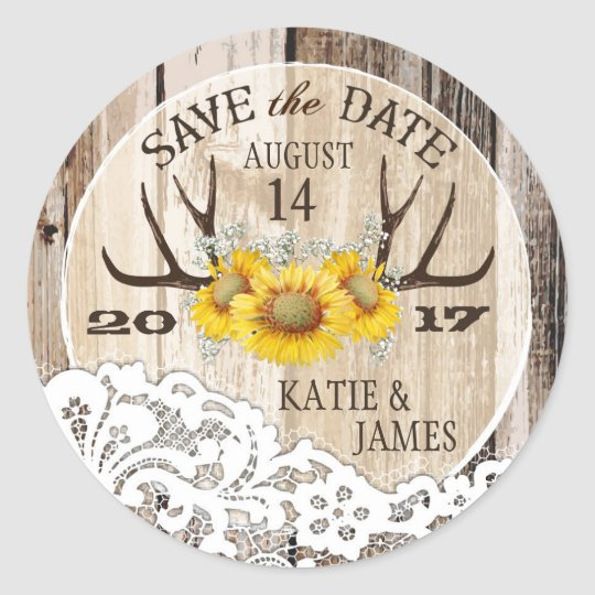 Boho Antler Sunflowers Wood Lace Save the Date