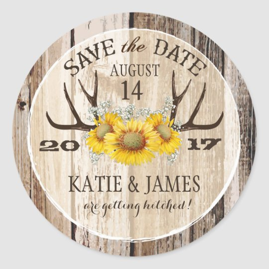 Boho Antler Sunflowers Wood Save the Date Classic