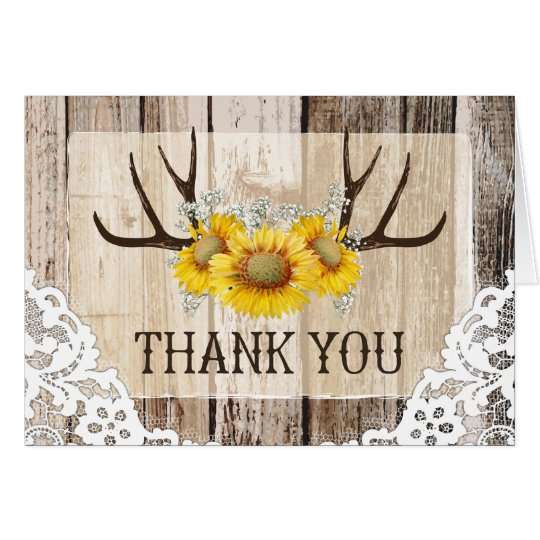 Boho Antlers Rustic Wood Sunflowers Lace Thank You