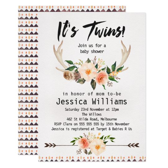 Boho Antlers Twins Baby Shower Invitation