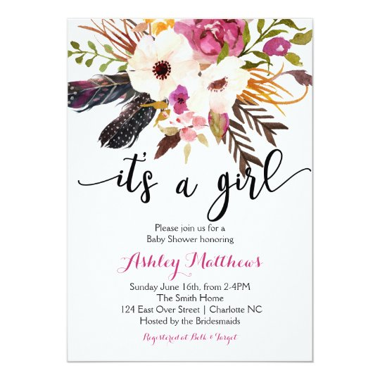 Boho arrows feathers Floral Baby Shower Invitation