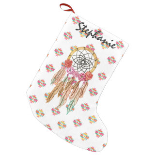 Boho Aztec Watercolor Native American Dreamcatcher Small Christmas Stocking