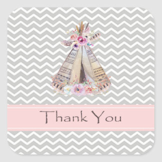 Boho Baby Girl Shower Thank You Stickers