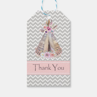 Boho Baby Girl Shower Thank You Tags, Thank You Gift Tags