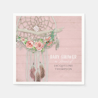 BOHO Baby Shower Feathers Dream Catcher Wood Roses Disposable Napkins