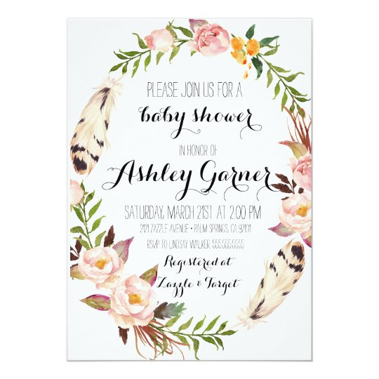 Boho Baby Shower Invitation, Feather, Flower Card