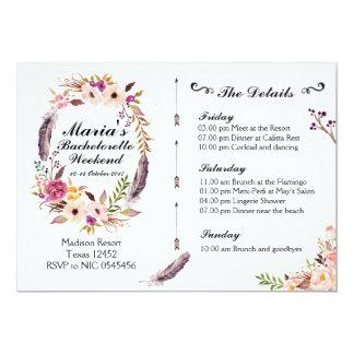 Boho Bachelorette Weekend Itinerary Invitation
