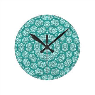 Boho Bazaar Cerulean Pattern Round Clock