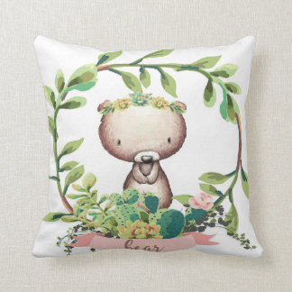 Boho Bear Baby Nursery Cactus Succulent Pillow