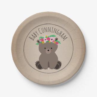 Boho Bear Cardstock Inspired Custom Baby Shower 7 Inch Paper Plate