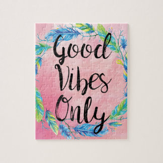 Boho Beautiful Good Vibes Only Jigsaw Puzzle