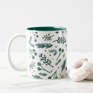 Boho Berries Holiday Mug in Green