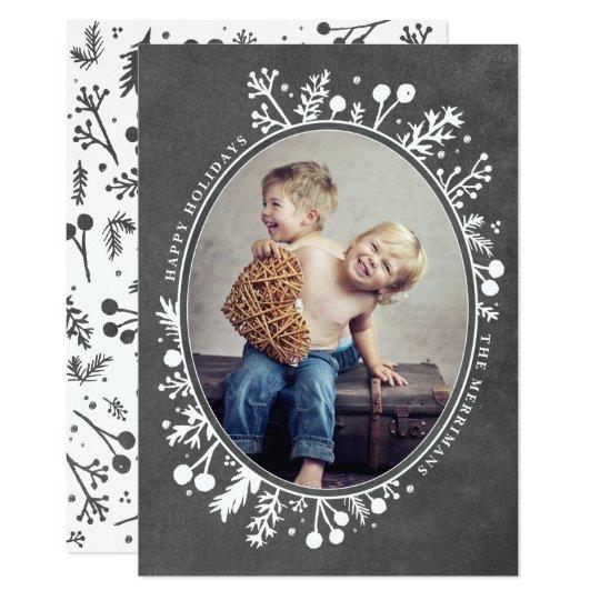 Boho Berries Oval Holiday Photo Card Chalkboard