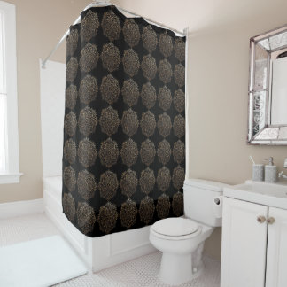 Boho Black Gold Foil Floral Mandala Pattern Shower Curtain