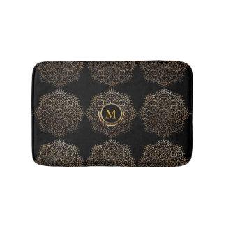 Boho Black Gold Foil Mandala Monogrammed Girly Bath Mat