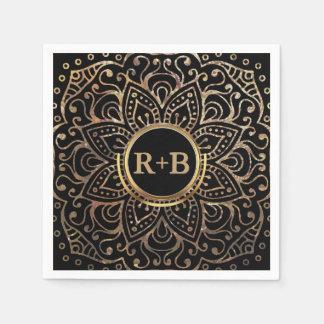 Boho Black Gold Foil Mandala Wedding Monogram Disposable Serviette